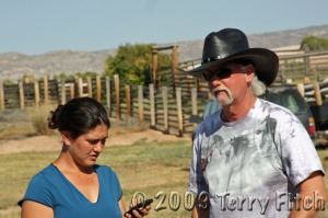 """Makendra Silverman and R.T. Fitch discuss horses condition during """"gather"""""""