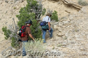 Author R.T. Fitch and Emmy Award winning Ginger Kathrens make daily trek up hillside to document the trapping