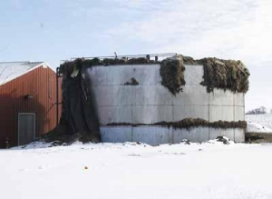Frozen foam could be seen overflowing a water-holding tank on Feb. 18 at Cavel International, a horse-slaughtering plant in DeKalb. Chronicle file photo CURTIS CLEGG