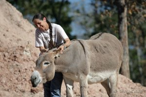Marjorie Farabee, Director of Wild Burro affairs at WHFF, and her good friend Miss Abby ~ photo by Terry Fitch