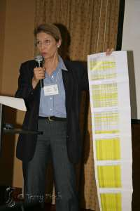 Former Mayor Paula Bacon displays outstanding fines and taxes still owed by Belgian Horse Slaughter plant ~ photo by Terry Fitch/courtesy of the Equine Welfare Alliance