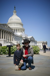 Declan Gregg of Children 4 Horses and R.T. Fitch of Wild Horse Freedom Federation speaking in Washington D.C. ~ photo by Terry Fitch