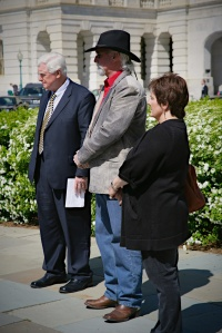 Congressman Jim Moran, R.T. Fitch - president of Wild Horse Freedom Federation, Vicki Tobin - VP Equine Welfare Alliance speaking before National Capitol during press conference earlier this year ~ photo by Terry Fitch