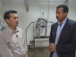 Rick de los Santos speaking with forked tongue to CBS News Correspondent Bill Whitaker about killing and eating horses (CBS) - May, 2012