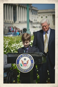 Declan speaking in D.C. March 2012 with Congressman Jim Moran  ~ photo by Terry Fitch of Wild Horse Freedom Federation