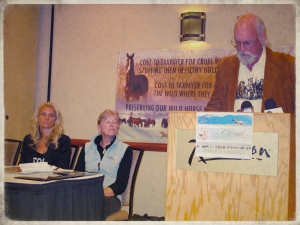 Simone Netherlands, Ginger Kathrens and R.T. Fitch speak to Utah Press Corp. at BLM Wild Horse and Burro Advisory Board meeting in 2012~ photo by Terry Fitch of Wild Horse Freedom Federation