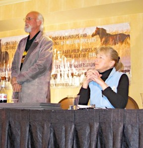 Advisory Board Nominees R.T. Fitch and Ginger Kathrens speak at press conference during BLM Advisory Board meeting in March 2013 ~ photo by Terry Fitch of Wild Horse Freedom Federation