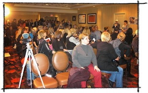 Growing crowd quickly becomes standing room only for press conference ~ photo by Terry Fitch of Wild Horse Freedom Federation