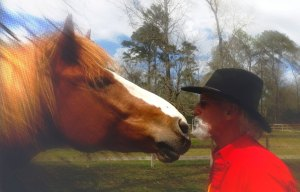 """We don't eat our Friends!""  Moose with his buddy R.T. Fitch of Wild Horse Freedom Federation/Straight from the Horses Heart ~ photo by Terry Fitch"