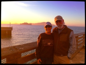 Terry and R.T. Fitch on San Francisco's Fisherman's wharf on eve of departure to Beijing, China, 6/11/13  ~ photo by kind passerby