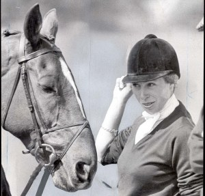 Princess Anne and horse 'Stevie B' after completing the dressage events at the Windsor Horse Trials in 1980