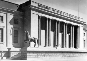 "Model of the Reich Chancellery building, designed by Albert Speer: The bronze statue of ""Trabenes Pferd,"" or ""Trotting Horse,"" is by sculptor Josef Thorak. (Heinrich Hoffmann/ullstein bild via Getty Images)"